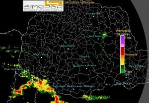 Imagem do radar meteorológico de Cascavel, às 08h30 desta segunda-feira (29)