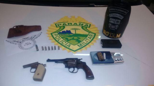 Armas, munições e maconha apreendidas em PB. Foto: Polícia Militar