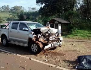 Hilux envolvida no acidente. Foto: Polícia Argentina