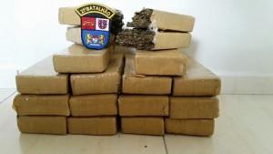 Maconha apreendida pesou 15,961 Kg. Foto: Polícia Militar