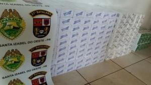 Cigarro de várias marcas foi apreendido e encaminhado à Receita federal. Foto: Polícia Militar