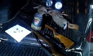 Armas, munições e animais abatidos. Foto de divulgação