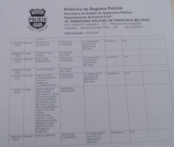 Parte da ficha de antecedentes criminais de Flavio Ricardo da Silva.