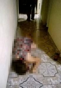 Cel foi encontrada morta no corredor da residência. Foto: Divulgação PM