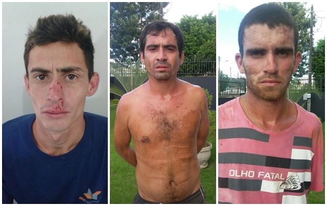 Luiz Gustavo Pereira, 21 anos; Jair dos Santos, 29 anos, e Cleiton Alves Gonçalves Maia, 19 anos, acusados pelo assalto. Foto: Divulgação Polícia Militar