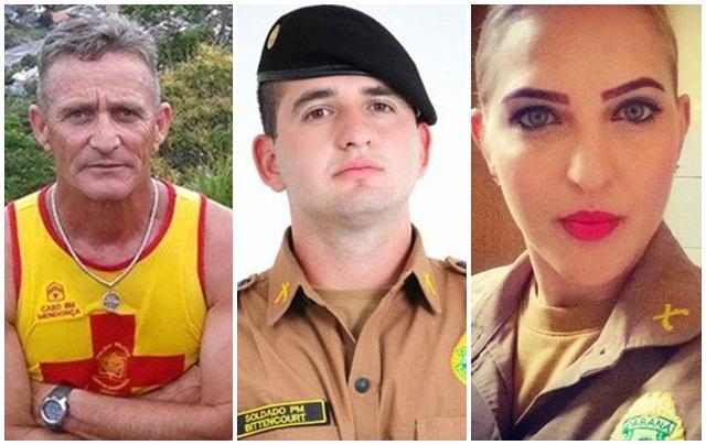 Cabo Amarildo Mendonça (Bombeiros) e soldados Adroir Rodrigo Bittencourt; Marizete Heindrickson (Polícia Militar). Foto: reprodução Facebook