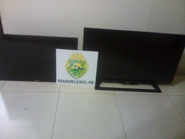 Televisores haviam sido furtados no Bairro Santa Rita. Foto: Polícia Militar