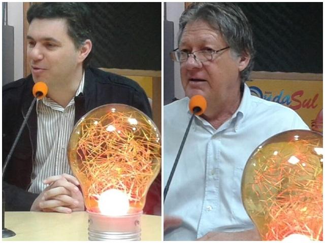 Cleber Fontana (PSDB) e Ademir Schwartz (PSD) em entrevista à Rádio Onda Sul. Foto: Haroldo Vaz