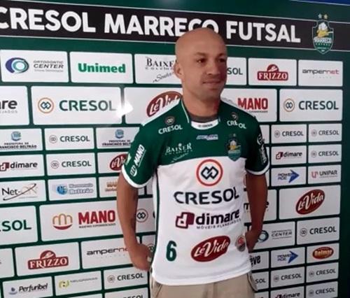 """Rodrigo Ferreira dos Santos, o """"Macha"""", 37 anos, novo contratado do Cresol/Marreco Futsal. Foto: Evandro Artuzi/RBJ"""