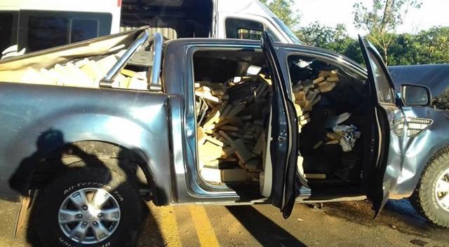 Camionete carregada com a droga foi apreendida. Foto: PRF