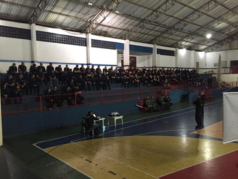 Concentração dos policiais e definição dos detalhes aconteceu em um Ginásio de Esportes. Foto de divulgação