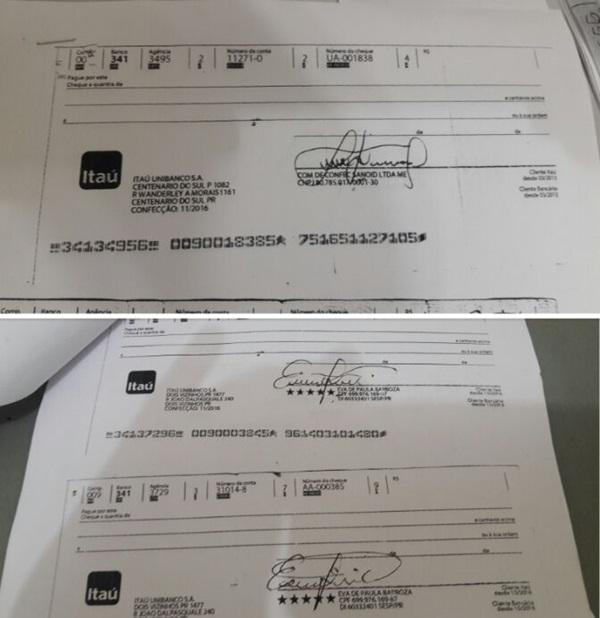 Cheques estavam em nome de uma pessoa e de uma empresa. Foto de divulgação