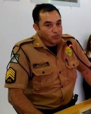 Sargento Mello Santos (Comandante do Pelotão de Marmeleiro). Foto: Evandro Artuzi/RBJ