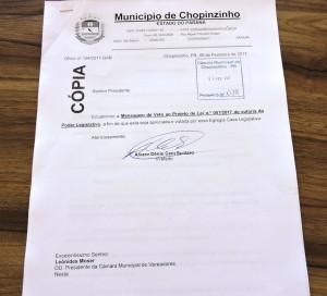 Mensagem de veto encaminhada pelo prefeito Álvaro Scolaro. Foto: Edson Zuconelli.