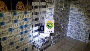 21 mil maços de cigarros foram apreendidos. Foto: Sargento Rondineli Rotam 3ª Cia.