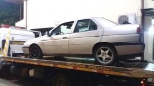 O veículo utilizado no roubo foi apreendido pela PM. Foto: Polícia Militar.