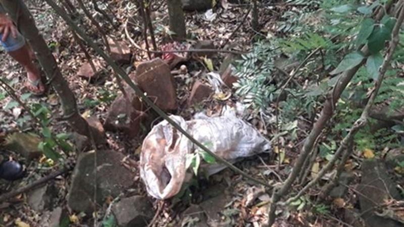Ossada foi encontrada no meio de um matagal. Foto: Polícia Militar
