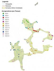 Localização dos aerogeradores