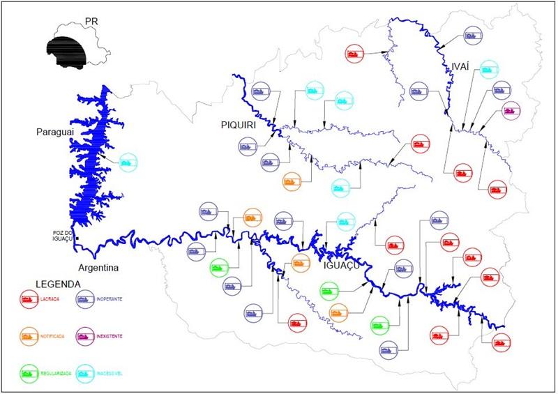 Mapa da área abrangida pela Operação Balsa. A distância entre a CFRP, em Foz do Iguaçu, e Porto Vitória, no extremo leste da área de jurisdição, é de aproximadamente 522 km, por via rodoviária. Imagem: Capitania Fluvial do Rio Paraná.